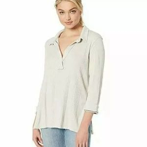 Free People Annie Ribbed Ivory Natural Collared M